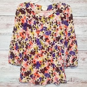Maeve Top Long sleeve Floral Purple Orange